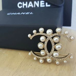 CHANEL CC Logo Metal, Glass Pearl Crystal Brooch